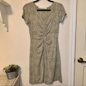 Athleta Olive Print Short Sleeve Dress Small